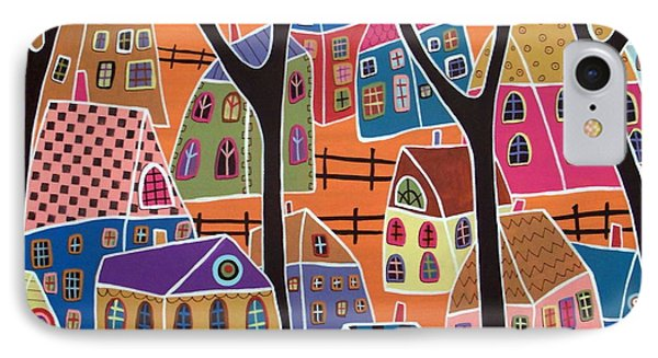 Four Trees And Houses On Orange Phone Case by Karla Gerard