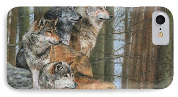 Four Wolves IPhone Case by David Stribbling