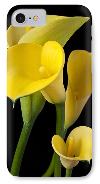 Four Yellow Calla Lilies Phone Case by Garry Gay