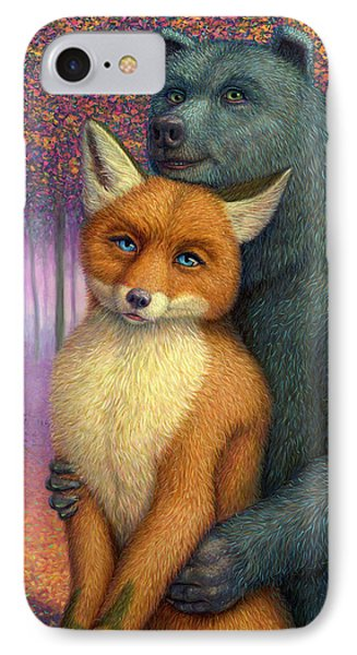 Fox And Bear Couple IPhone Case by James W Johnson