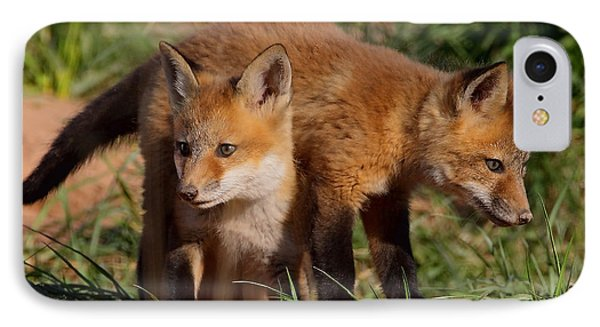 Fox Cubs Playing Phone Case by William Jobes