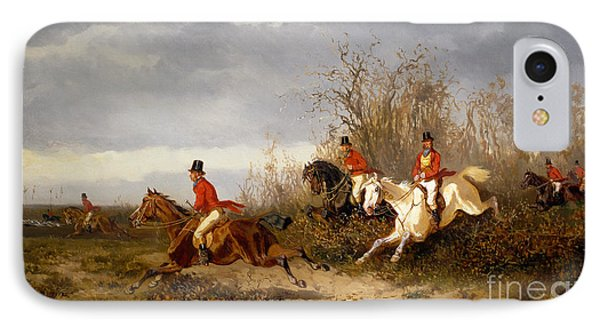 Fox Hunting Scene IPhone Case by Alexander von Bensa