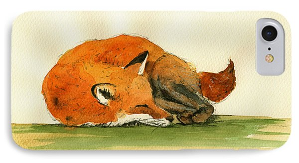 Fox Sleeping Painting IPhone Case by Juan  Bosco