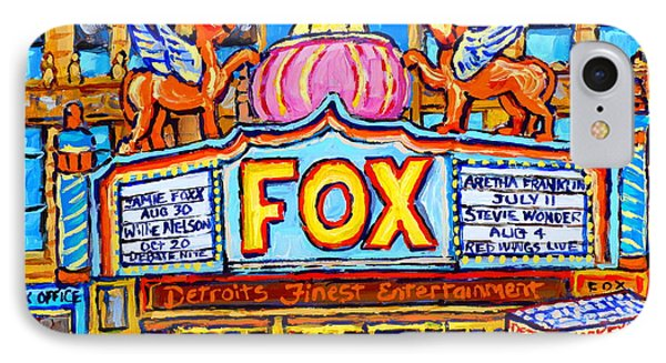 Fox Theatre Michigan Winter City Scene Painting Detroit Red Wings Usa Hockey Art Carole Spandau      IPhone Case by Carole Spandau