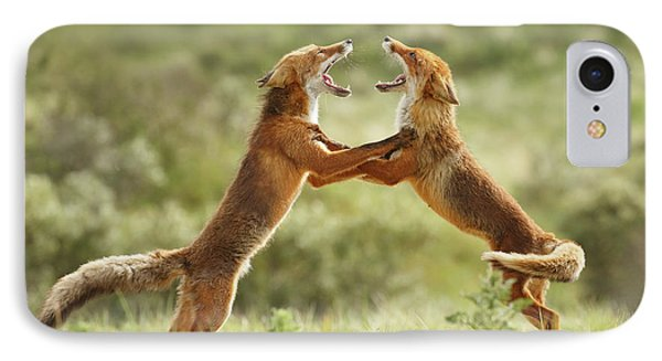Fox Trot - Red Foxes Fighting IPhone Case