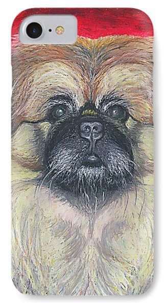 IPhone Case featuring the pastel Fozy Bear Pekingese by Ania M Milo
