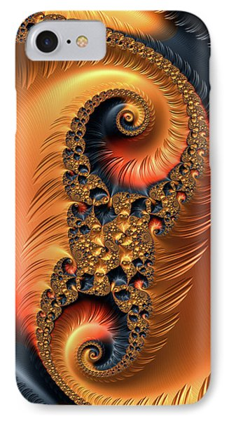 IPhone Case featuring the digital art Fractal Spirals With Warm Colors Orange Coral by Matthias Hauser