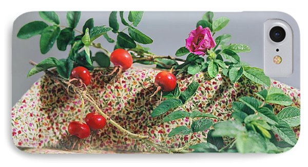 IPhone Case featuring the photograph Fragrant Rugosa Rose With Rosehips And Leaves by Nancy Lee Moran