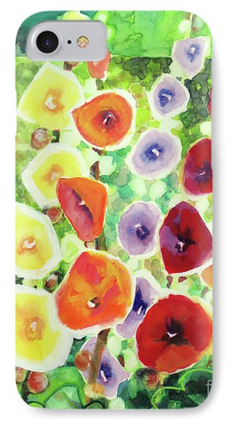 IPhone Case featuring the painting Framed In Hollyhocks by Kathy Braud