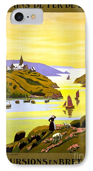 France Bretagne Vintage Travel Poster Restored IPhone Case