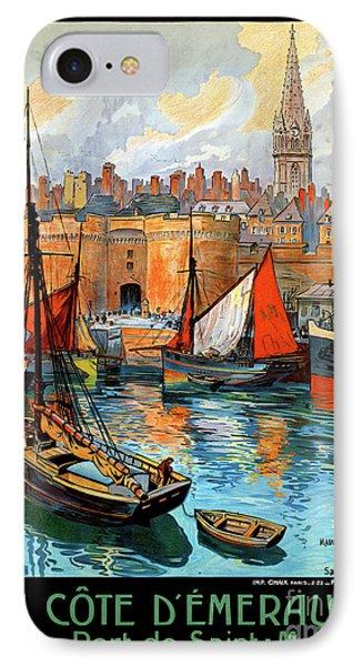France Saint Malo Restored Vintage Travel Poster Phone Case by Carsten Reisinger