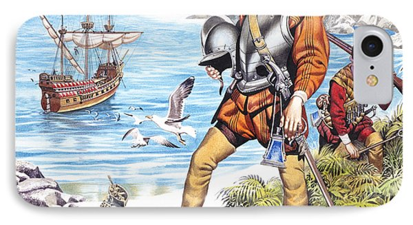 Francis Drake And The Golden Hind Phone Case by Ron Embleton