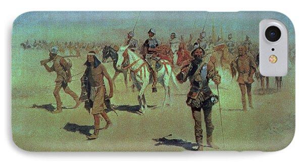 Francisco Vasquez De Coronado Making His Way Across New Mexico IPhone Case by Frederic Remington