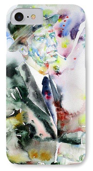 Frank Sinatra - Watercolor Portrait.4 IPhone Case by Fabrizio Cassetta