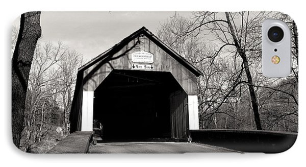 Frankenfield Covered Bridge Mono IPhone Case by John Rizzuto