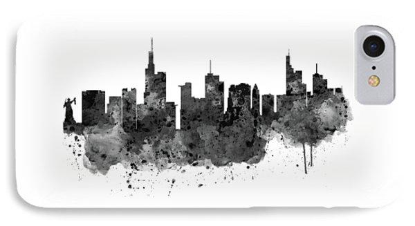 Frankfurt Black And White Skyline IPhone Case by Marian Voicu