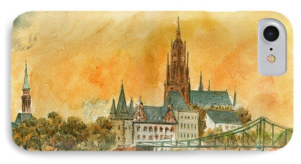 Frankfurt Watercolor IPhone Case by Juan  Bosco