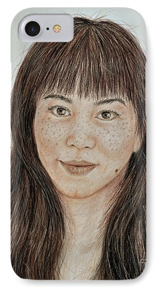 Freckle Faced Asian Beauty With Bangs  IPhone Case by Jim Fitzpatrick