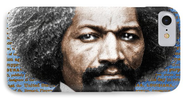 Frederick Douglass And Emancipation Proclamation Painting In Color  IPhone Case by Tony Rubino