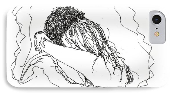 IPhone Case featuring the drawing Free Hugs Bw by Denise Fulmer