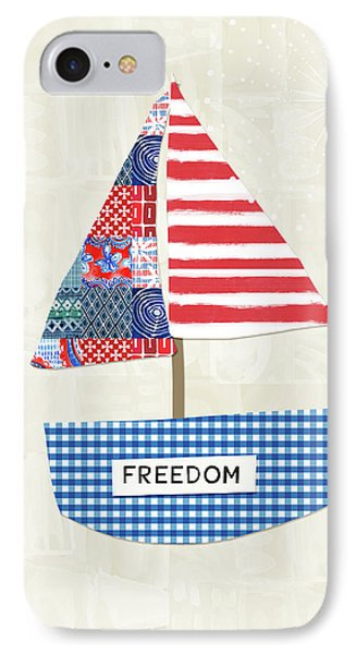 Freedom Boat- Art By Linda Woods IPhone Case by Linda Woods