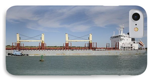 IPhone Case featuring the photograph Freighter Heading To Port by Bradford Martin