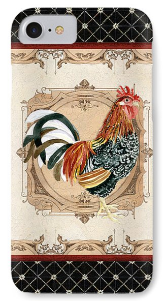 French Country Roosters Quartet Black 1 IPhone Case by Audrey Jeanne Roberts