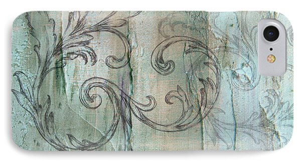 French Country Scroll In Muted Blue IPhone Case