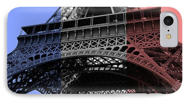 French Flag Motif Eiffel Tower Base And First Floor Perspective IPhone Case by Shawn O'Brien