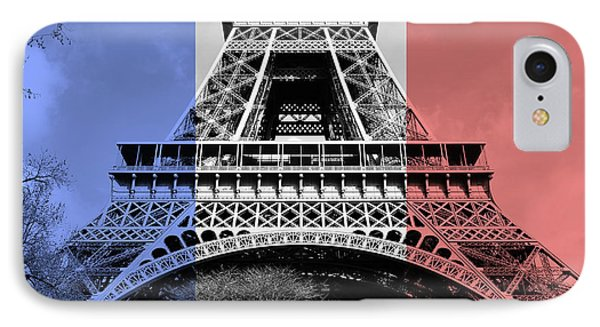 French Flag Motif Eiffel Tower First And Second Floors Paris France Digital Art IPhone Case by Shawn O'Brien