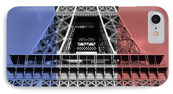 French Flag Motif Eiffel Tower First And Second Levels Paris France IPhone Case by Shawn O'Brien