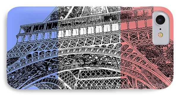 French Flag Theme Eiffel Tower Base And First Floor Paris France Stamp Digital Art IPhone Case by Shawn O'Brien
