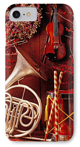 Drum iPhone 7 Case - French Horn Christmas Still Life by Garry Gay