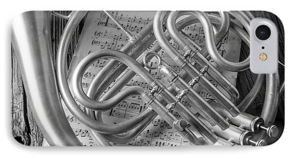 French Horn In Black And White IPhone Case by Garry Gay