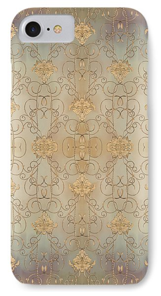 French Parisian Damask Swirl Vintage Style Wallpaper IPhone Case