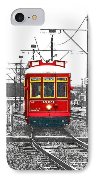 French Quarter French Market Cable Car New Orleans Color Splash Black And White With Film Grain IPhone Case by Shawn O'Brien