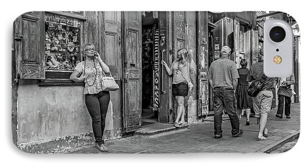 French Quarter - People Watching Bw IPhone Case