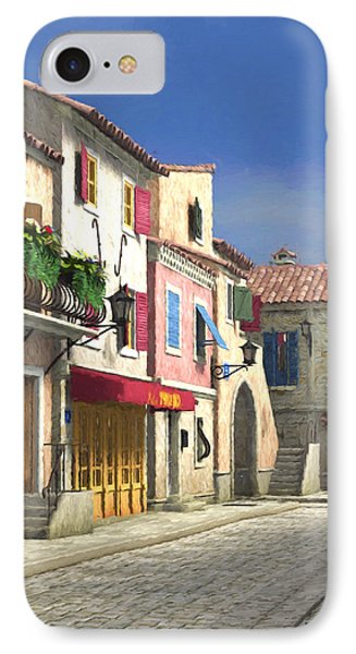 French Village Scene With Cobblestone Street IPhone Case by Jayne Wilson