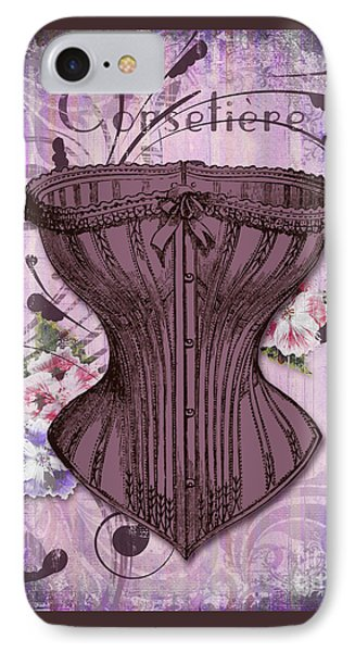 French Vintage Lingerie Fashion Corset Art IPhone Case by Tina Lavoie