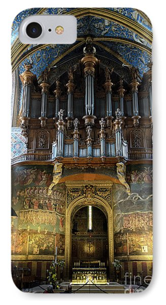 Fresco Of The Last Judgement And Organ In Albi Cathedral IPhone Case by RicardMN Photography