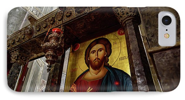 Fresco Painting Of Jesus At The Church Of Holy Luke At Monastery Of Hosios Loukas In Greece  IPhone Case by Global Light Photography - Nicole Leffer