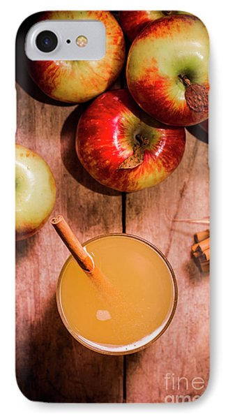 Fresh Apple Cider With Cinnamon Sticks And Apples IPhone Case by Jorgo Photography - Wall Art Gallery