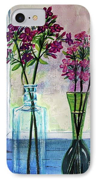 IPhone Case featuring the painting Fresh Cut Flowers In The Window by Patricia L Davidson