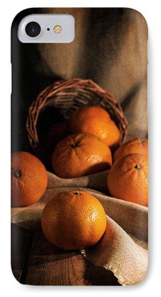 Fresh Tangerines In Brown Basket IPhone Case by Jaroslaw Blaminsky
