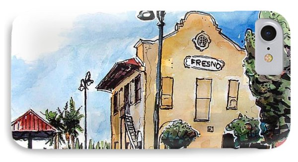 IPhone Case featuring the painting Old Fresno Depot by Terry Banderas