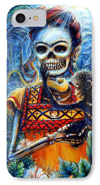 IPhone Case featuring the painting Frida In The Moonlight Garden by Heather Calderon