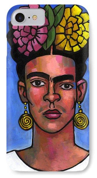 Frida On Blue Background IPhone Case by Douglas Simonson