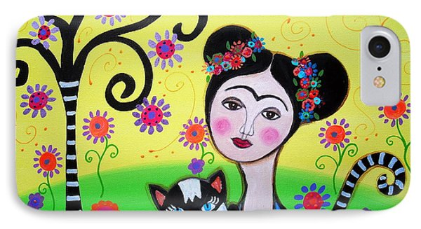 IPhone Case featuring the painting Frida With Her Cat by Pristine Cartera Turkus