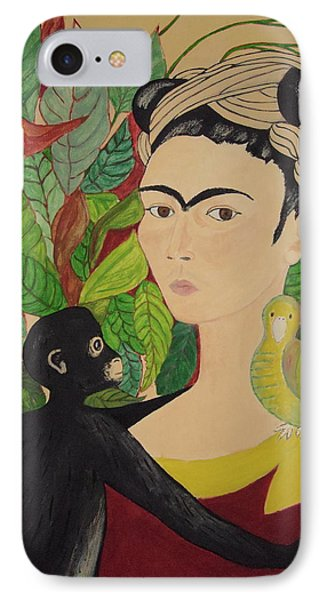 Frida With Monkey And Bird IPhone Case by Stephanie Moore