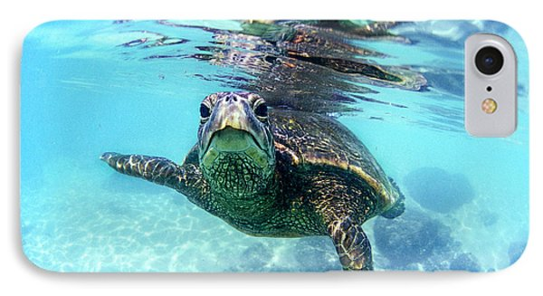 Turtle iPhone 7 Case - friendly Hawaiian sea turtle  by Sean Davey